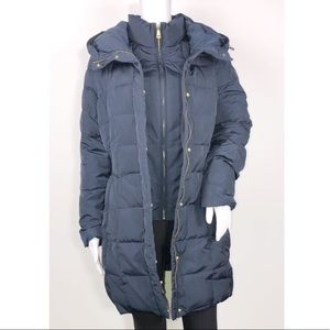 Cole Haan Navy Hooded Down & Feather Jacket Sz Lg